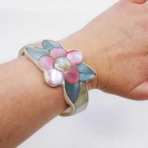 vintage mosaic style floral cuff bracelet handmade